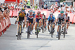 Sepp Kuss (USA) Jumbo-Visma, Giulio Ciccone (ITA) Trek-Segafredo, Red Jersey Odd Christian Eiking (NOR) Intermarché-Wanty-Gobert Matériaux and Felix Grossschartner (AUT) Bora-Hansgrohe on the final climb at the end of Stage 15 of La Vuelta d'Espana 2021, running 197.5km from Navalmoral de la Mata to El Barraco, Spain. 29th August 2021.     <br /> Picture: Luis Angel Gomez/Photogomezsport | Cyclefile<br /> <br /> All photos usage must carry mandatory copyright credit (© Cyclefile | Luis Angel Gomez/Photogomezsport)