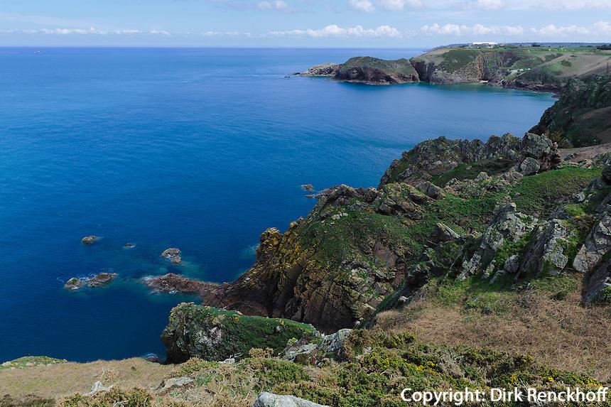 Blick vom Wanderweg bei Le Pinacle im Nordosten, Insel Jersey, Kanalinseln