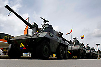 BOGOTA, COLOMBIA - MAY 05 : Army tanks stand guard during the National strike on May 5, 2021 in the outskirts of Bogota, Colombia. Ahead of further planned protest in the country, Amnesty International has published evidence of excessive use of force being used against protesters by the security forces United Nations, European Union and rights bodies joined at criticism, official data show  19 people were killed and 846 injured during  clashes with the security forces. (Photo by Leonardo Munoz/VIEWpress)