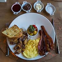 Las Vegas, Nevada.  American Breakfast with Lemon-smashed Potatoes, Giada Restaurant, The Cromwell Hotel, without Giada Logo on Plate.