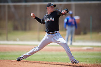 Miami Marlins pitcher Trevor Richards (55) delivers a pitch during a minor league Spring Training game against the New York Mets on March 26, 2017 at the Roger Dean Stadium Complex in Jupiter, Florida.  (Mike Janes/Four Seam Images)