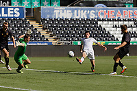 Pictured: Joel Cotterill of Swansea (C) fails to score a goal against Sam Booth of Crewe Alexandra (L). Monday 20 September 2021<br /> Re: Professional Development League, Swansea City U23 v Crewe Alexandra U23 at the Swansea.com Stadium, Swansea, Wales, UK.