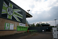 General view of the Stadium pre match  during the Sky Bet League 2 match between Forest Green Rovers and Barrow at The New Lawn, Nailsworth on Tuesday 27th April 2021. (Credit: Prime Media Images I MI News)