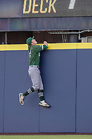 Eastern Michigan Eagles outfielder Shane Easter (1) climbs up the fence during the NCAA baseball game against the Michigan Wolverines on May 8, 2019 at Ray Fisher Stadium in Ann Arbor, Michigan. Michigan defeated Eastern Michigan 10-1. (Andrew Woolley/Four Seam Images)