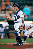 Lakeland Flying Tigers catcher Austin Athmann (19) signals to the defense during a game against the Tampa Tarpons on April 5, 2018 at Publix Field at Joker Marchant Stadium in Lakeland, Florida.  Tampa defeated Lakeland 4-2.  (Mike Janes/Four Seam Images)