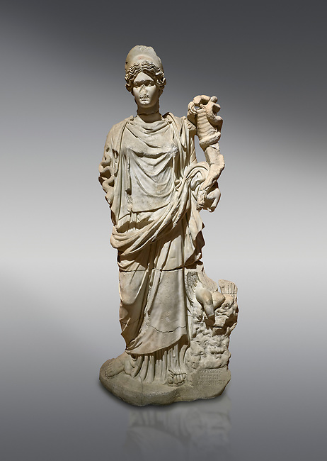 Roman statue of Hygieia. Marble. Perge. 2nd century AD. Inv no .Antalya Archaeology Museum; Turkey.<br /> <br />  Hygieia was one of the Aeclepiadae; the sons and daughters of the god of medicine; Asclepius; and the goddess of healing; Epione. She was the goddess of health; cleanliness and hygiene.