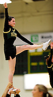 5 December 2009: A UVM Cheerleader entertains the fans at a game between the University of Vermont Catamounts and the Manhattan College Jaspers at Patrick Gymnasium in Burlington, Vermont. The Catamounts defeated the visiting Jaspers 78-59 to mark the Lady Cats' second home win of the season. Mandatory Credit: Ed Wolfstein Photo