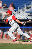 Williamsport Crosscutters outfielder Jiandido Tromp (23) at bat during a game against the Batavia Muckdogs on July 27, 2014 at Dwyer Stadium in Batavia, New York.  Batavia defeated Williamsport 6-5.  (Mike Janes/Four Seam Images)