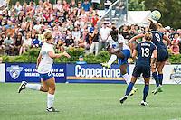 Allston, MA - Sunday July 17, 2016: Eunice Beckmann, Kristin Grubka, Erica Skroski during a regular season National Women's Soccer League (NWSL) match between the Boston Breakers and Sky Blue FC at Jordan Field.