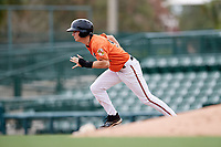 Baltimore Orioles Adam Hall (51) running the bases during an Instructional League game against the Tampa Bay Rays on October 2, 2017 at Ed Smith Stadium in Sarasota, Florida.  (Mike Janes/Four Seam Images)