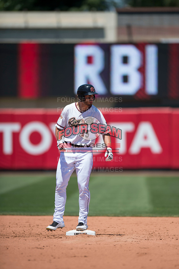Sacramento RiverCats left fielder Chris Shaw (15) stands on second base after hitting an RBI-double during a Pacific Coast League against the Tacoma Rainiers at Raley Field on May 15, 2018 in Sacramento, California. Tacoma defeated Sacramento 8-5. (Zachary Lucy/Four Seam Images)