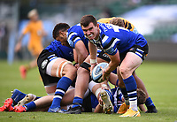 31st August 2020; Recreation Ground, Bath, Somerset, England; English Premiership Rugby, Ben Spencer of Bath passes the ball back