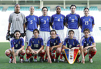 MAR 13, 2006: Faro, Portugal:  France stands for the team photo before their game against the USWNT in the Algarve Cup in Faro Portugal.