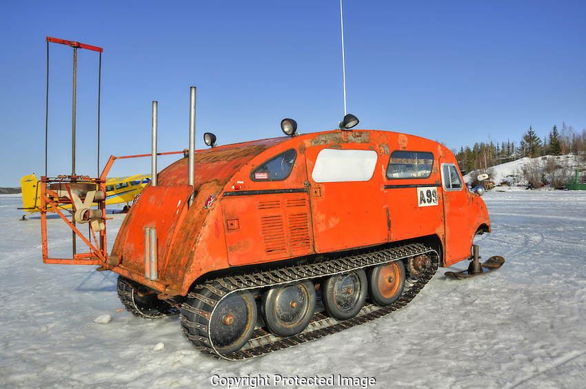 Bombardier used for commercial fishing on Great Slave lake