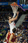 Real Madrid´s PLAYER and Galatasaray´s PLAYER during 2014-15 Euroleague Basketball match between Real Madrid and Galatasaray at Palacio de los Deportes stadium in Madrid, Spain. January 08, 2015. (ALTERPHOTOS/Luis Fernandez)