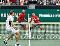 Rotterdam, The Netherlands. 14.02.2014. ABN AMRO World Tennis Tournament, Jean-Julien Rojer(NED)/ Horia Tecau(ROE) and Johan Brunstrom(ZWE)<br /> Photo:Tennisimages/Henk Koster