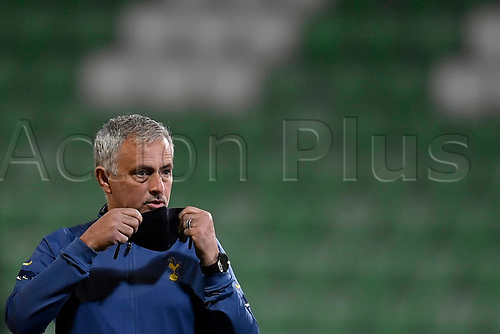 5th November 2020; RAZGRAD, BULGARIA; UEFA Europa League football, group stages;  Ludogorets Razgrad versus Tottenham Hotspur;  Jose Mourinho head coach of Tottenham Hotspur resets his face mask