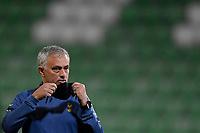 5th November 2020; RAZGRAD, BULGARIA; UEFA Europa League football, group stages;  Ludogorets Razgrad versus Tottenham Hotspur;  Jose Mourinho head coach of Tottenham Hotspur resets his face mask