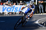 Julian Alaphilippe (FRA) Deceuninck-Quick Step descends the Poggio during the 111th edition of Milan- San Remo 2020, running 305km from Milan to San Remo, Italy. 8th August 2020.<br /> Picture: LaPresse/Fabio Ferrari | Cyclefile<br /> <br /> All photos usage must carry mandatory copyright credit (© Cyclefile | LaPresse/Fabio Ferrari)