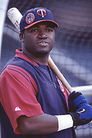 David Ortiz of the Minnesota Twins during a 2001 season MLB game at Angel Stadium in Anaheim, California. (Larry Goren/Four Seam Images)
