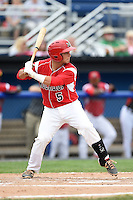 Batavia Muckdogs catcher Chris Hoo (5) at bat during the first game of a doubleheader against the Connecticut Tigers on July 20, 2014 at Dwyer Stadium in Batavia, New York.  Connecticut defeated Batavia 5-3.  (Mike Janes/Four Seam Images)