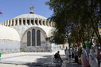 ETHIOPIA , Tigray, Axum, orthodox Church of Our Lady Mary of Zion , built during time of emperor Haile Selassie  / AETHIOPIEN, Tigray, Aksum, orthodoxe Kirche der Heiligen Maria von Zion