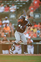 Detroit Tigers shortstop Wenceel Perez (76) at bat during a Grapefruit League Spring Training game against the Baltimore Orioles on March 3, 2019 at Ed Smith Stadium in Sarasota, Florida.  Baltimore defeated Detroit 7-5.  (Mike Janes/Four Seam Images)
