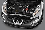 High Angle Engine Detail view of 2011 Nissan Juke SV SUV Stock Photo
