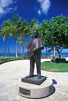 Statue of Prince Jonah Kuhio Kalanianaole stands along the Waikiki Historic Trail next to Waikiki Beach.