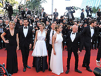 Anne Consigny, Virginie Efira, Jonas Bloquet, Isabelle Huppert, director Paul Verhoeven, actors Alice Isaaz, Christian Berkel, Charles Berling and Laurent Lafitte attend the 'Elle' Premiere during the 69th annual Cannes Film Festival at the Palais des Festivals on May 21, 2016 in Cannes
