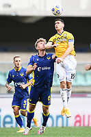 Kevin Lasagna of Udinese and Matteo Lovato of Hellas Verona <br /> during the Serie A football match between Hellas Verona and Udinese Calcio at Marcantonio Bentegodi Stadium in Verona (Italy), September 27th, 2020. Photo Image Sport / Insidefoto