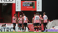 Brentford's Ollie Watkins (far left) celebrates scoring an early goal for Brentford during Brentford vs Preston North End, Sky Bet EFL Championship Football at Griffin Park on 15th July 2020