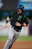 Dayton Dragons Morgan Lofstrom (34) running the bases during a Midwest League game against the Kane County Cougars on July 20, 2019 at Northwestern Medicine Field in Geneva, Illinois.  Dayton defeated Kane County 1-0.  (Mike Janes/Four Seam Images)