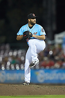 Inland Empire 66ers relief pitcher Jhondaniel Medina (30) in action against the Stockton Ports at San Manuel Stadium on July 6, 2017 in San Bernardino, California. The Ports defeated the 66ers 7-6.  (Brian Westerholt/Four Seam Images)