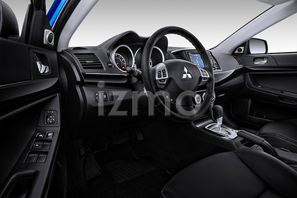 Straight dashboard view of a 2012 Mitsubishi Lancer Sportback GT.