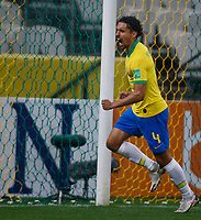 9th October 2020; Arena Corinthians, Sao Paulo, Sao Paulo, Brazil; FIFA World Cup Football Qatar 2022 qualifiers; Brazil versus Bolivia; Marquinhos of Brazil celebrates his goal in the 16th minute for 1-0