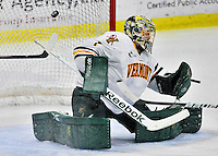 27 January 2012: University of Vermont Catamount goaltender John Vazzano, a Senior from Trumbull, CT, gives up a third period goal to the Northeastern University Huskies at Gutterson Fieldhouse in Burlington, Vermont. The Catamounts fell to the Huskies 8-3 in the first game of their 2-game Hockey East weekend series. Mandatory Credit: Ed Wolfstein Photo