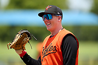 FCL Orioles Orange first baseman Jacob Teter (26) during a game against the FCL Rays on August 2, 2021 at Charlotte Sports Park in Port Charlotte, Florida.  (Mike Janes/Four Seam Images)