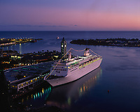 Cruise Ship at Twilight, Aloha Tower Marketplace, Honolulu, Oahu, Hawaii, USA.