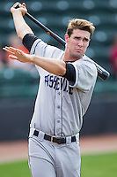 David Dahl (21) of the Asheville Tourists takes some practice swings prior to the game against the Hickory Crawdads at L.P. Frans Stadium on April 13, 2014 in Hickory, North Carolina.  The Tourists defeated the Crawdads 5-4.  (Brian Westerholt/Four Seam Images)