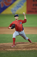 Williamsport Crosscutters relief pitcher Damon Jones (40) delivers a pitch during a game against the Batavia Muckdogs on August 3, 2017 at Dwyer Stadium in Batavia, New York.  Williamsport defeated Batavia 2-1.  (Mike Janes/Four Seam Images)