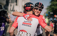 André Greipel (DEU/Lotto-Soudal) wins stage 4 and is congratulated by teammate Jens Keukeleire (BEL/Lotto-Soudal) as he crosses the finish<br /> <br /> 15th Ovo Energy Tour of Britain 2018 (2.HC)<br /> Stage 4: Nuneaton to Royal Leamington Spa (183km)
