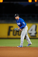 Rancho Cucamonga Quakes second baseman Omar Estevez (21) during a California League game against the Stockton Ports at Banner Island Ballpark on May 16, 2018 in Stockton, California. Rancho Cucamonga defeated Stockton 6-3. (Zachary Lucy/Four Seam Images)