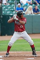 Elier Hernandez (15) of the Idaho Falls Chukars at bat against the Ogden Raptors at Lindquist Field on September 5, 2013 in Ogden Utah.  (Stephen Smith/Four Seam Images)
