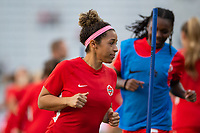 ORLANDO, FL - FEBRUARY 21: Desiree Scott #11 of the CANWNT warming up before a game between Argentina and Canada at Exploria Stadium on February 21, 2021 in Orlando, Florida.