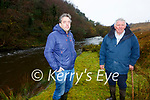 Stephen O'Shea(Catchment Officer for the Pearl Mussel Project) & James O'Sullivan participating farmer from Dromid/Waterville pictured on the bank of Cummeragh River.