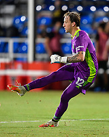 LAKE BUENA VISTA, FL - JULY 18: Steve Clark #12 of the Portland Timbers watches his pass during a game between Houston Dynamo and Portland Timbers at ESPN Wide World of Sports on July 18, 2020 in Lake Buena Vista, Florida.