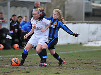 Club Brugge Dames - Heerenveen : Silke Demeyere (rechts) in duel<br /> foto Joke Vuylsteke / nikonpro.be