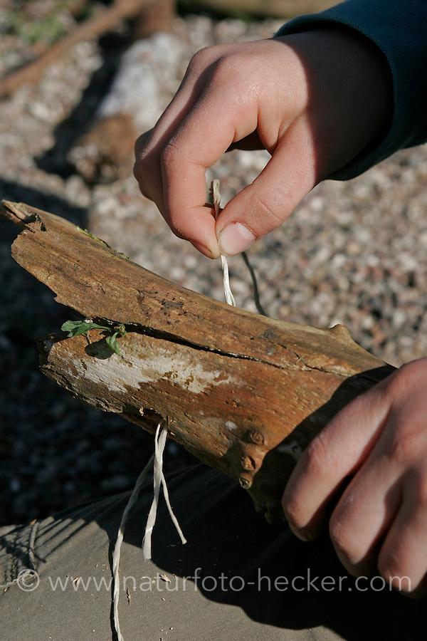 Kinder basteln Klangspiel aus Ästen, Schnur wird durch gebohrtes Loch gezogen