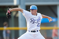 Burlington Royals relief pitcher Ian Tompkins (23) in action against the Greeneville Astros at Burlington Athletic Park on June 29, 2014 in Burlington, North Carolina.  The Royals defeated the Astros 11-0. (Brian Westerholt/Four Seam Images)